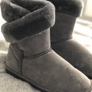 Shoes - Grey fur ankle boots